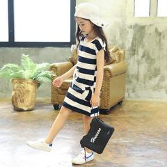 Kids Dresses for Girls Cotton Striped Casual Girls Summer Dress Children Toddler Teen Clothing blue 160cm(11-12t)