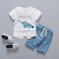 Baby boys and girls fashion clothing sets summer children's cartoon elephant t shirt + shorts blue 80cm/12m