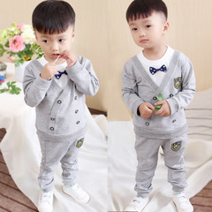 Spring Autumn Boy Clothes Set Children Clothing Sets Sweater fabric Kids Clothes Boys T-shirts+Pants grey 80cm/12m