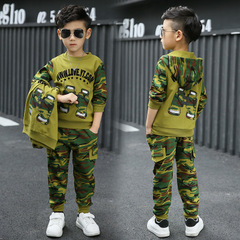 Boys camouflage clothing set 3pcs for big kids Hooded Jacket T-shirt pant clothes suit light army green 110cm/4t