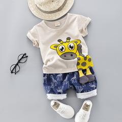 Summer Kids Baby Clothes Set for Boys Cut Cartoon Animal Infant Clothing Suit Giraffe Top T-shirt grey 80cm/12m