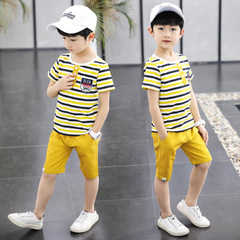 Sport Suits Teenage Summer Boys Clothing Sets Short Sleeve T Shirt & Pants Casual yellow 120cm/5t