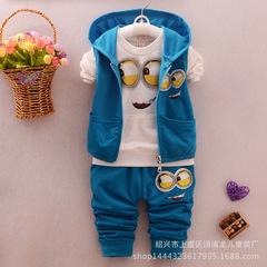 spring baby girls boys suits mignon / newborn clothing set kids vest + shirt + pants 3 pcs. blue 80cm/12m