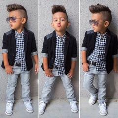 Autumn Kids Boy Clothes Set 3PCS Coat+plaid T-shirt+Jeans Children little casual boys clothing sets black 90cm/2t