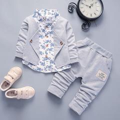 spring autumn Sport Suit Kids Clothing Set Little boys Clothes Denim Jeans Coat+Pants grey 80cm/12m