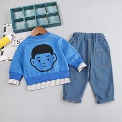 High quality boy clothing set new autumn casual active solid kid suit children T-shirt+pant blue 80cm/12m