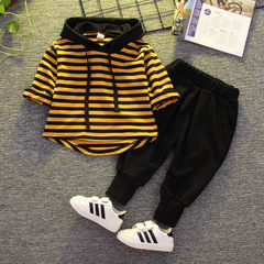 boys 2pcs clothing sets children boys casual long sleeve top+pants suits sets yellow 80cm/12m