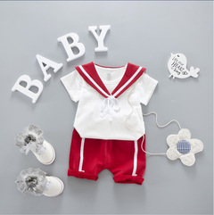Baby Boys Clothing Sets Baby Girls Boys Sailor Set Cotton Tops T-shirt + Shorts 2pcs Outfits Set red 80cm/12m