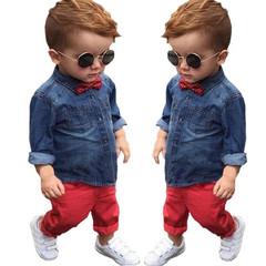 New Autumn Children's Clothes Sets Baby Boys Cravat Long Sleeve Denim jacket + Red casual jeans blue 3