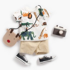 Kids Boys Clothes Summer Baby Child Short Sleeve Cartoon Tops T Shirt+Shorts Pants Boy Outfits white 0-6m