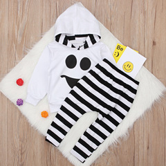 Fashion boy Clothing Set Toddler Baby Boys Girls kids clothes sets Cartoon Ghost Tops Pullover Pants white 80cm/12m/s