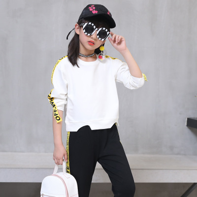 Autumn Girl T Shirt + Pants Set Fashion Baby Tracksuit Children Clothing Infantil O-Neck white 160cm