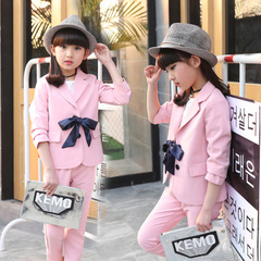 Children's Clothing For Girl Blazer Set Kids Long Sleeve Top+Pants Two-piece Set Baby Princess Suits pink 110cm/4t