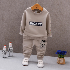 Spring Autumn Baby T-shirt Pants 2Pcs Toddler Tracksuits Boys Girls Bohemia Style Clothing Sets blue 80cm/18m/s