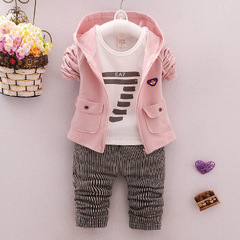 Spring and autumn Children's clothing sets baby clothes Cotton products 3 pieces sets pink 70cm