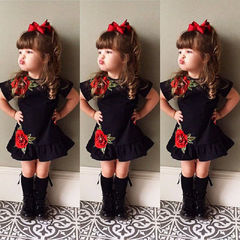 Newest USA Toddler Kids Baby Girls 3D Flower Summer Party Dress Sundress Casual Clothes 0-4T black 80cm(9-12m)