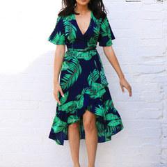 Summer Women Chiffon Dress Ruffles Casual Short Sleeve V-Neck Wrap Party Dresses Vestidos l navy