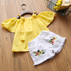 New Summer Fashion Style Girls Clothing Sets Embroidery Design T-shirt+ Jeans Children Clothes yellow 7