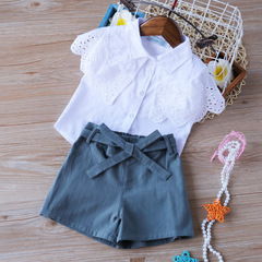 fashion summer new style mesh butterfly T-shirt +Shorts Kids Suits bodysuit baby girl clothes white 90cm/2t