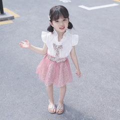 Baby Girl Clothing Set Vlinder Summer 2019 Lace Floral Short Sleeve White T-Shirt Mesh Skirt Clothes pink 80cm/18m