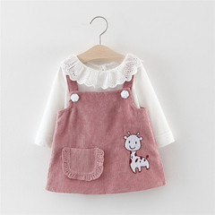 Autumn Children Clothes Set Baby Girl Deer Animal Strap Dress White Lace T-Shirt+Dress Two-Piece pink 80cm/18m