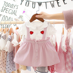Kid Dresses For Girls Infant Baby Girls Short Sleeve Love Print Ruffles Princess Dress Clothes pink 70cm