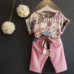 New Spring Summer Kids Suits for Girls Flower T-shirt Pink Pants Children Clothing Set pink 100cm/3t