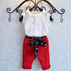 summer clothes New girl clothing set Leisure Style Children's Clothing White T-Shirt + Red Pants red 90cm/2t