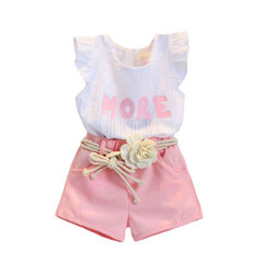 Toddler Kids Baby Girls Print Sleeveless T-Shirt+Shorts+Belt Outfits Clothes Set pink 90cm/2t