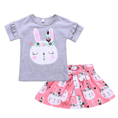 Girls Clothes Casual Cotton Children Clothing Set Short Sleeve T-shirt Pink Skirts Rabbit Kids Suits grey 80cm/18m