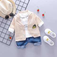 Autumn Baby Boys Clothing Sets Stripe Coats T Shirt Pants Children Casual Costume yellow 70cm