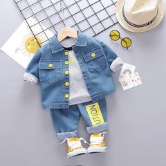 Toddler Autumn Baby Boys Clothing Sets Denim Coats Stripe T Shirt Jeans Children Costume white 70cm/12m