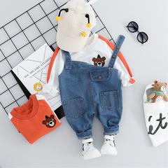 Autumn Toddler Baby Boys Girls Clothes Suits Bear T Shirt Denim Bib Pants Children Costume blue 80cm/18m/s