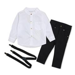 Autumn Toddler Kids Boys Clothes Suit Black Shirt+Overalls 2PCS Outfits Sets Child Boy Clothing white 80cm/18m