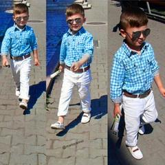 Boys Long Sleeve T-Shirt Tops+Trousers+Belt Clothes Outfits cool gentleman drop shipping blue 90cm/24m