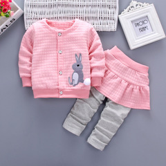 Baby Girls Sets 2pcs Cute Rabbit Cartoon 2019 Spring Autumn Clothes Suit Coat+Skirt Pants for girl pink 80cm/18m