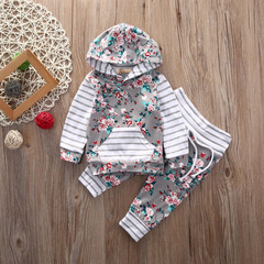 New fashion spring girls clothes set Newborn Girls Clothing gray Floral Hooded Tops Pants for girl grey 70cm