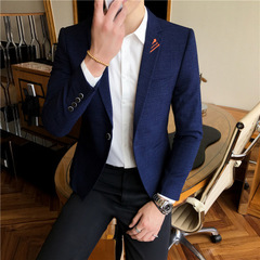 Spring Men's Casual Small Suit Korean version of Slim jacket Men's Single Suit youth Handsome Shirt blue m