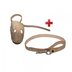Pet box muzzle and lead beige small