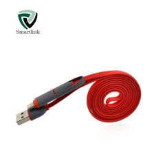 Smartlink TPE Environmental 2A Fast Charge 2 in 1 Transmit And Charging Data Cable Red