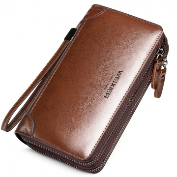 Fashion Hand Bag Wallet for Men Business Zipper Cow Leather Long Section brown osfm