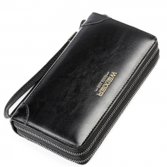 Fashion Hand Bag Wallet for Men Business Zipper Cow Leather Long Section black osfm