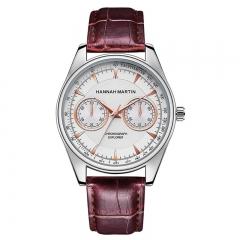 Men's Big Dial Leather Watch Quartz Business Calendar Analog Casual Red(White Dial) osfm