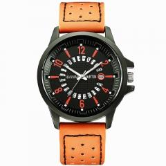 Men Dress Watch Wrist Leather Sport Watch Quartz Movement Dial Orange osfm