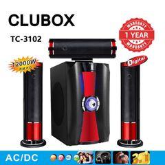 CLUBOX 3.1CH Bluetooth Woofer Speaker Systems Subwoofer USB/SD/FM Home Audio System TC-3102 Black 12000W TC-3102