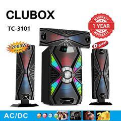 CLUBOX 3.1CH HIFI Multimedia Subwoofer Speaker Systems BT Woofer Home Audio System TC-3101 Black 12000W TC-3101
