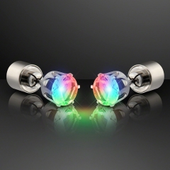 1pair Charm LED Earring Light Up Crown Glowing Crystal Stainless Ear Drop Ear Stud For women Rainbow One Size