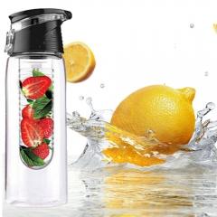 700ML Flesh Fruit Water Bottle Health Make Bottle Office Outdoor Cycling Camping Flip Lid Leak-proof black 700ml