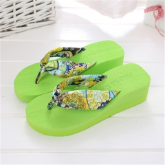 summer fashion sexy flip flops slippers platform bohemia beach Muffin Slope with female drag green 39