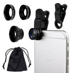 Universal Fish Eye 3in1 + Clip Fisheye Smartphone Camera Lens Wide Angle Macro Mobile Phone Lents gold